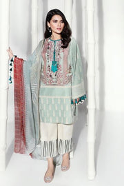 Pakistani embroidered slub dress for casual wear in mint green color