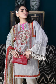 Pakistani designer slub outfit for casual wear in cloud grey color # P2398