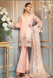 Stunning Baby Pink Color Chiffon Net Jaal work Dress by Anaya