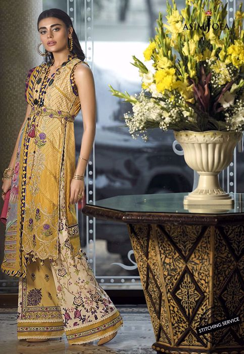 Stylish Lawn Dress in Yellow Color Overall Look