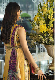 Stylish Lawn Dress in Yellow Color Backside Look