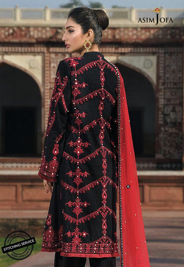 Stylish Lawn Eid Dress by Asim Jofa Backside View