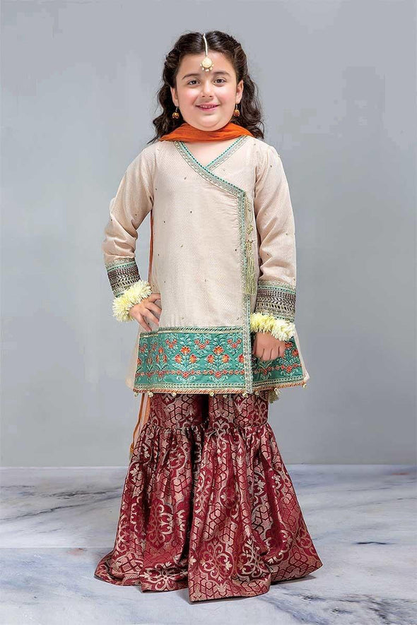 Stylish Skin Gold Angrakha with Gharara Designer Dress for Kids