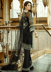Pakistani designer thread embroidered black dress # P2301