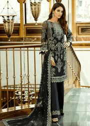Pakistani designer thread embroidered black dress