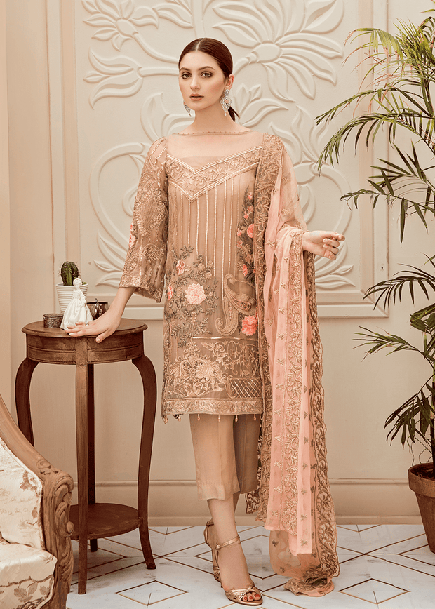 Pakistani thread embroidered dress in elegant skin color # P2281