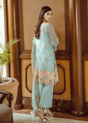 Pakistani thread embroidered dress in aqua blue color # P2298