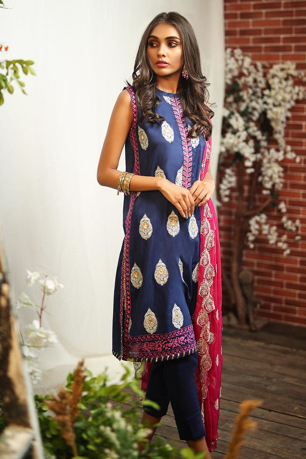 Pakistani thread embroidered dress in lavish blue color # P2266