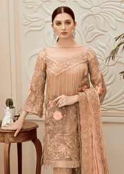 Pakistani thread embroidered dress in elegant skin color