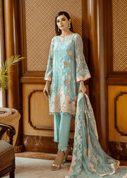Pakistani thread embroidered dress in aqua blue color