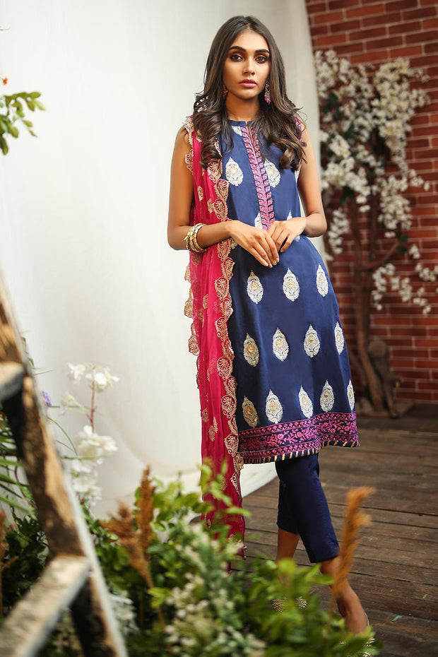 Pakistani thread embroidered dress in lavish blue color