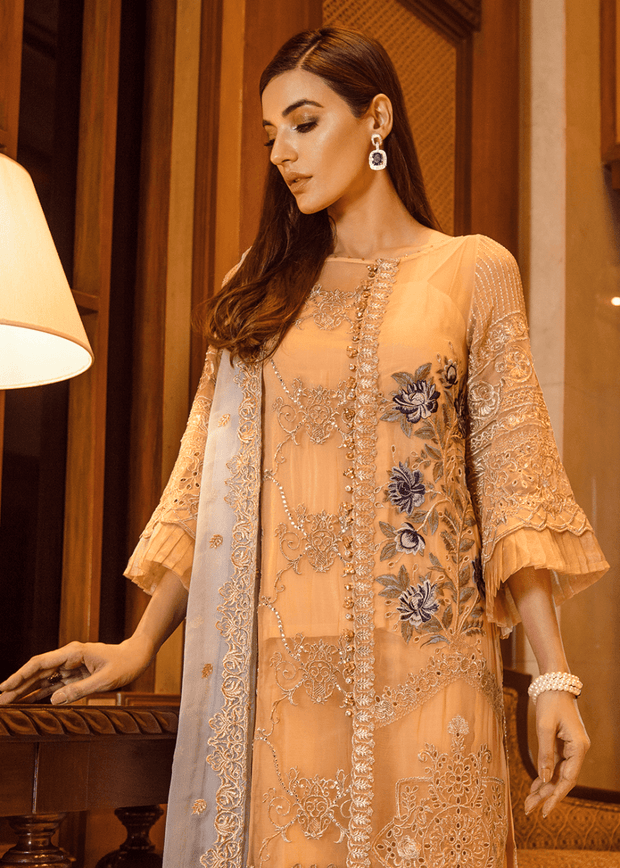 Pakistani thread embroidered outfit in dark peach color # P2299