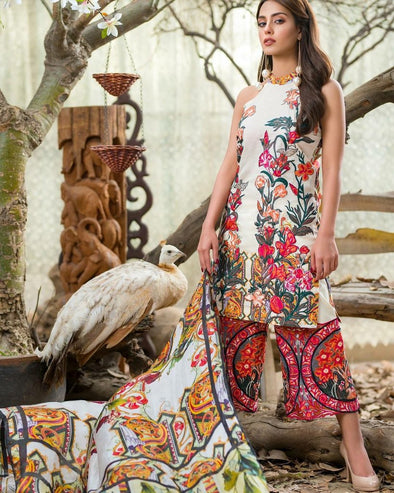 Three D Printed Style Pakistani Lawn dress by Asifa and Nabeel