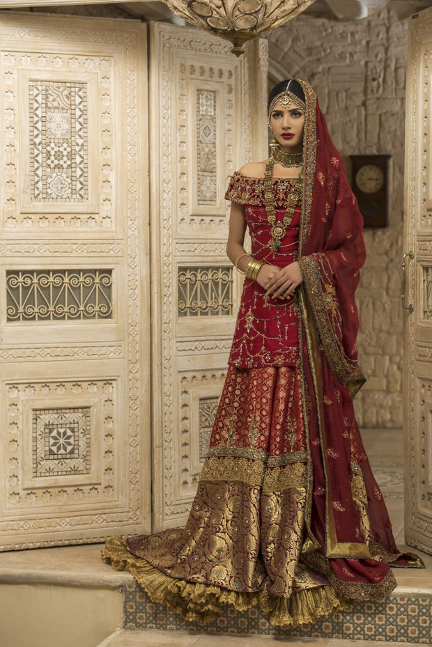 Traditional Maroon Bridal Lehnga with Embroidery