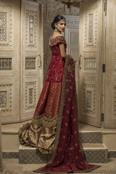 Traditional Maroon Bridal Lehnga with Embroidery Backside View