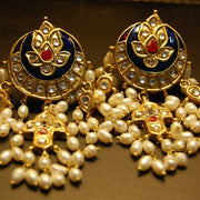Traditional Jhumka Style Earrings Blue Color