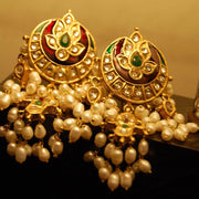 Traditional Jhumka Style Earrings Red Color