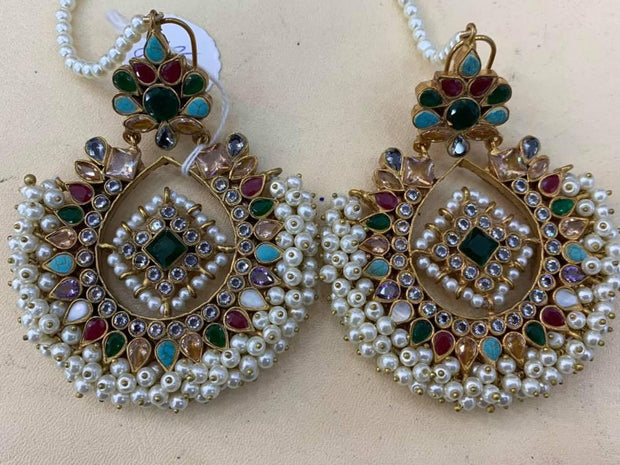 Traditional Kundan Earrings In Multicolor