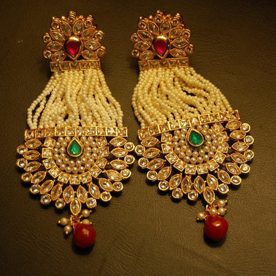 Traditional Long Earings With Pearl Strings