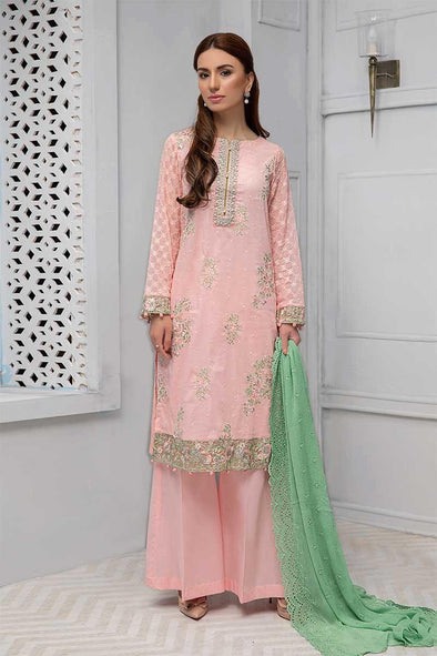 Traditional Eid dress Pakistani in lavish peach color