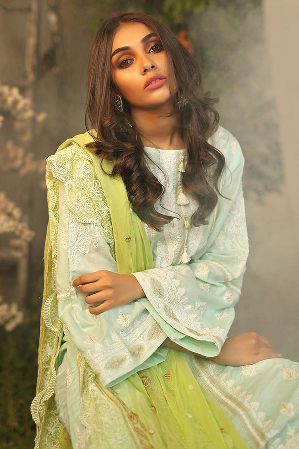 Pakistani traditional Eid outfit in beautiful aqua color # P2262