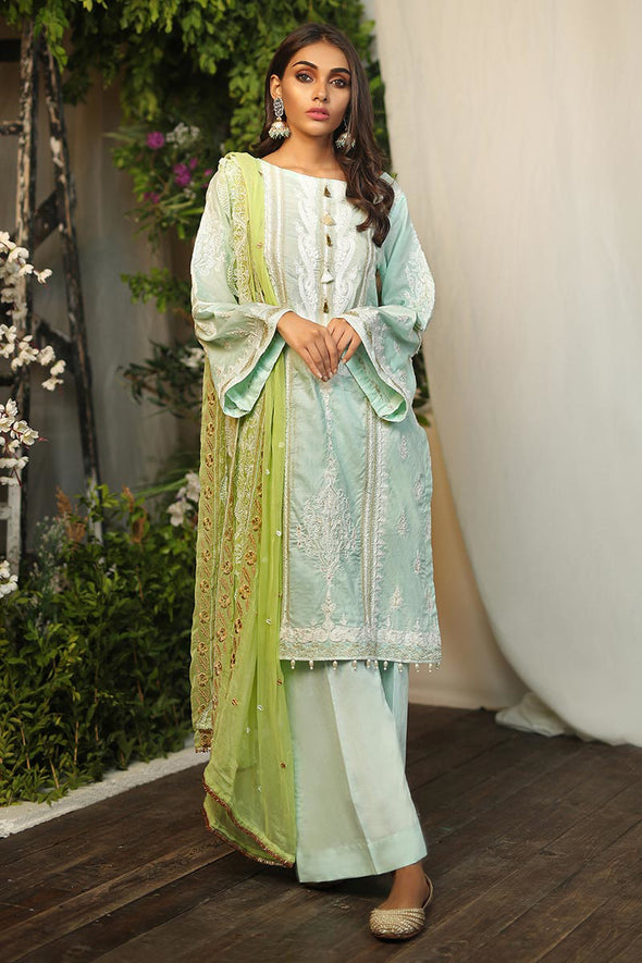 Pakistani traditional Eid outfit in beautiful aqua color