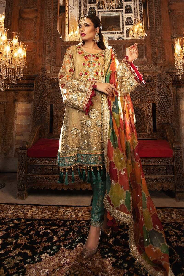 Traditional Pakistani wedding dress in shimmering gold color # P2253