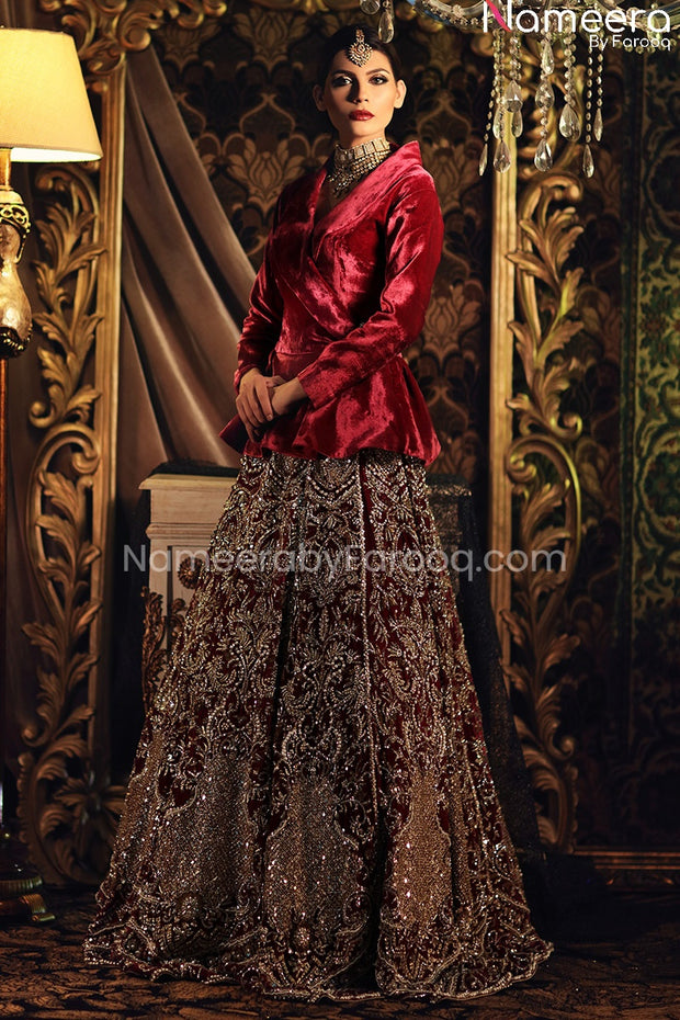 Velvet Bridal Lehenga with Jacket