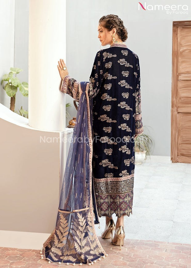 Velvet Pakistani Party Dress in Navy Blue Color Backside Look