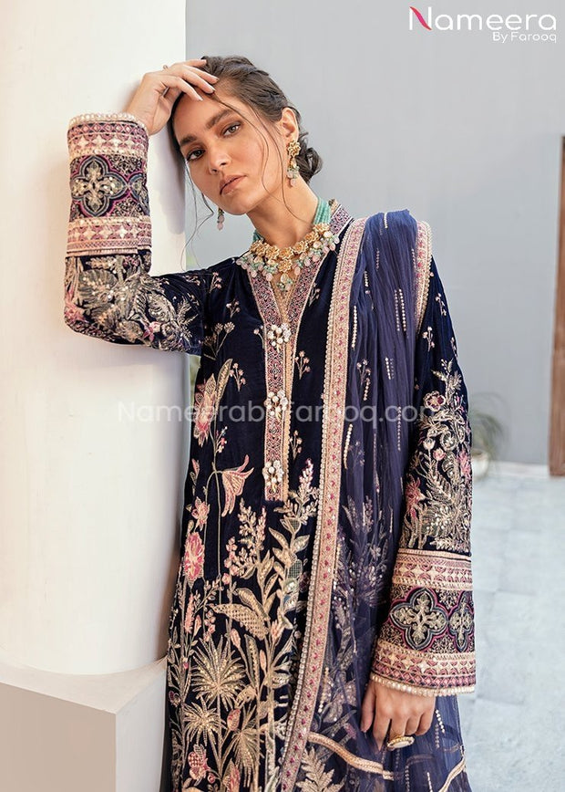 Velvet Pakistani Party Dress in Navy Blue Color Close Up