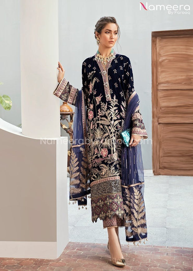 Velvet Pakistani Party Dress in Navy Blue Color
