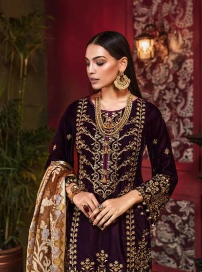Beautiful Pakistani velvet embroidered dress in rich maroon color