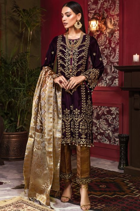 Beautiful Pakistani velvet embroidered dress in rich maroon color # P2454