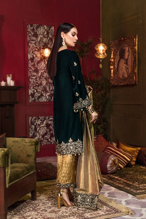 Beautiful Pakistani velvet embroidered outfit in elegant black color # P2455