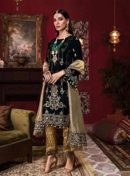 Beautiful Pakistani velvet embroidered outfit in elegant black color