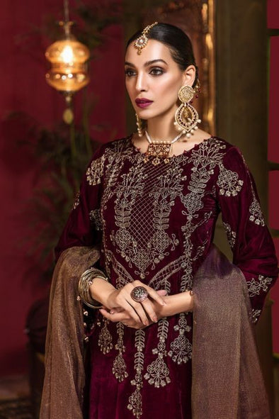 Beautiful Pakistani velvet embroidered party dress in rich maroon color # P2456