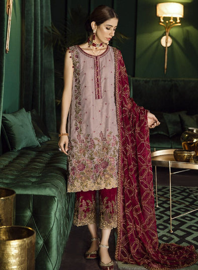 Beautiful Pakistani velvet embroidered party outfit in skin color