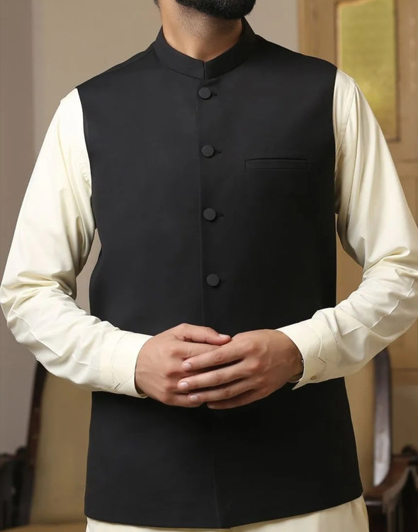 Waistcoat Pakistan for men in black color # M2673
