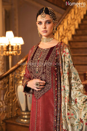 Wedding Party Dress Pakistani with Embroidery Neckline Embroidery