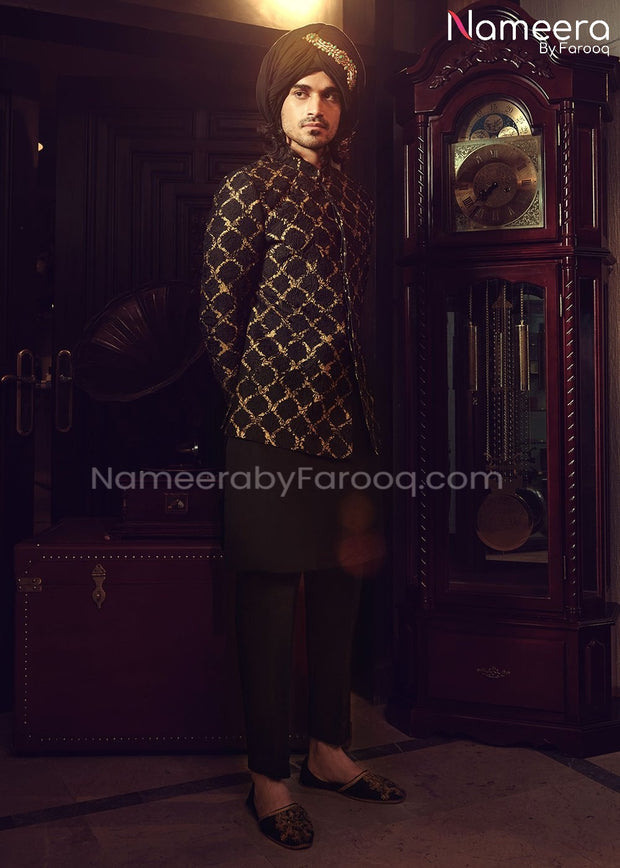 Wedding Sherwani for Groom with Embroidery Overall Look