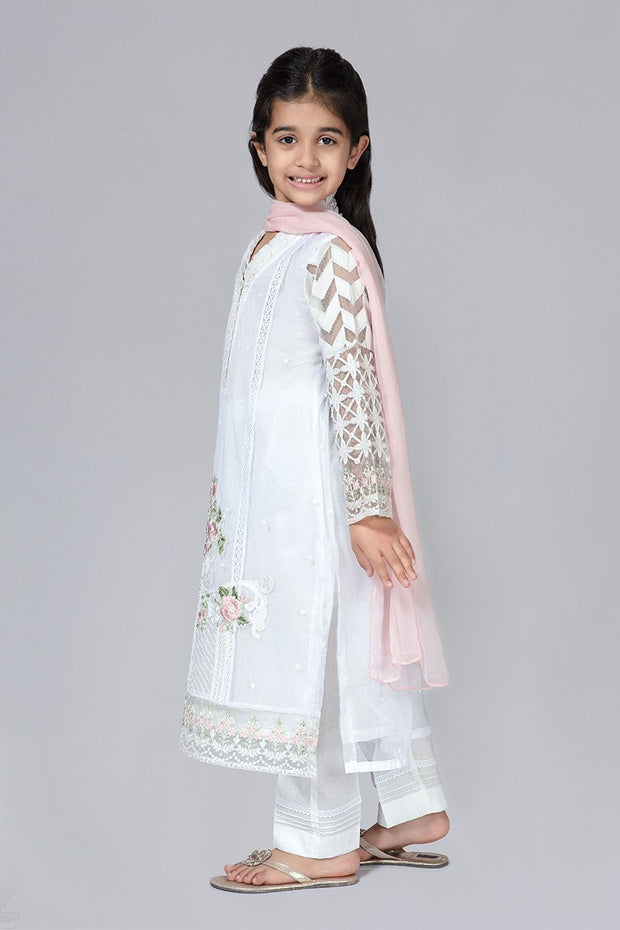 White Eid Dress for Kids  Side Pose