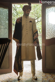 White Embroidered Jamawar Sherwani for Groom 2021 Front Look