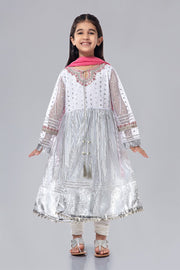 White Fancy Kids Frock for Eid