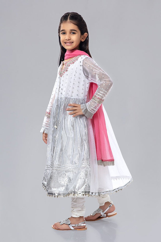 White Fancy Kids Frock for Eid Side Pose