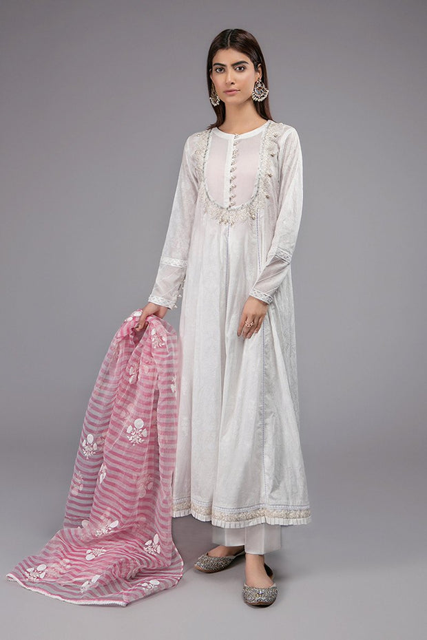 White Frock for Eid with Embroidery