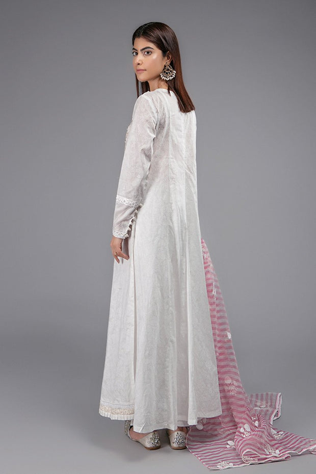 White Frock for Eid with Embroidery Backside View