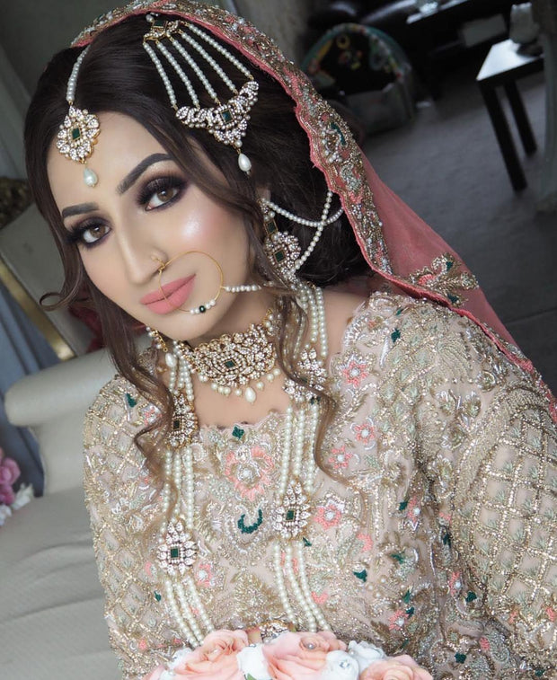 White Long Rani Haar And Necklace Set For Bride