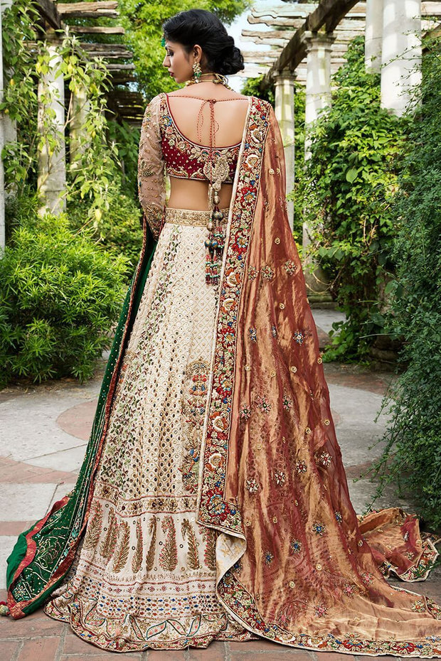 Pakistani white bridal dress with copper color dupatta # B3316