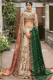 Pakistani white bridal dress with copper color dupatta