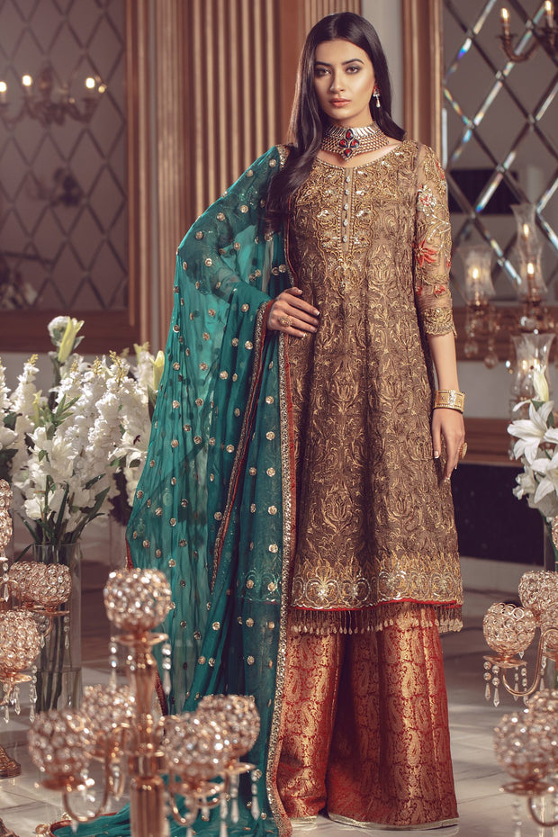 Pakistani Chiffon embroidered women formal eid outfit in copper color